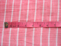 Pink and white striped semi sheer fabric