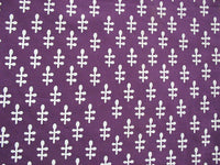 Purple and white leaf print hand block printed fabric