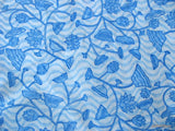 Blue floral pattern hand block printed fabric