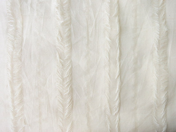 Fringed stripes semi sheer fabric