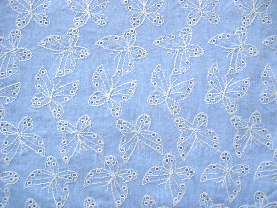 Butterfly Pattern Eyelet Embroidered Cotton Fabric