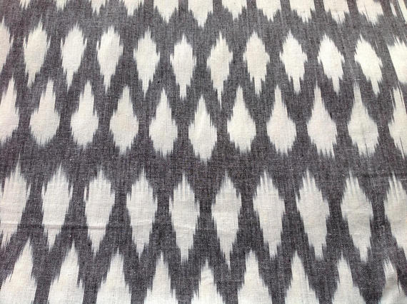 Off white and Grey handloom Ikat Apparel Curtains Fabric Sold by Yard