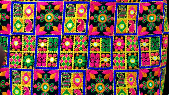 Embroidered Cotton Faux Mirrorwork Fabric Sold by Half Yard