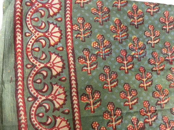 Floral print hand block printed Cotton fabric Sold by Yard