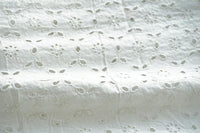 White on White Triangle Pattern Eyelet Embroidered Rayon Fabric