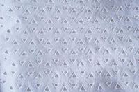 White on White Triangle Pattern Eyelet Embroidered Cotton Fabric