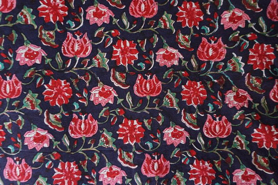 Black and pink Chintz Floral Pattern hand block printed fabric Sold by Yard