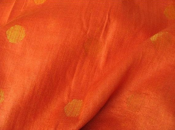Big Polka Dots Cotton Silk Jacquard Fabric in Orange and Gold Color Sold by the Yard