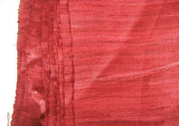 Marsala Burgundy Red Textured Geecha Wild Silk Fabric