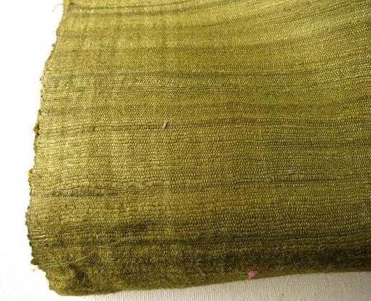 Green Textured Geecha Wild Silk Fabric Sold by the Yard