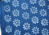 Floral Hand Block Printed Indigo Fabric Sold by Yard
