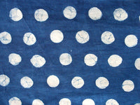 Polka Dots Indigo Hand Block Printed Indigo Fabric Sold by Yard