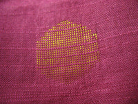 Woven Polka Dots Cotton Silk Jacquard Fabric in Magenta and Gold Color Sold by the Yard