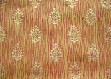 Golden Yellow and Gold Hand Printed Cotton Tussah Silk Sold by the Yard