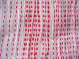Red and White Homespun Wrinkled Striped Soft cotton Gauze stitch detail fabric Sold by Yard