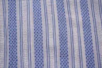 Blue and White Woven Striped Soft cotton Gauze fabric Sold by Yard