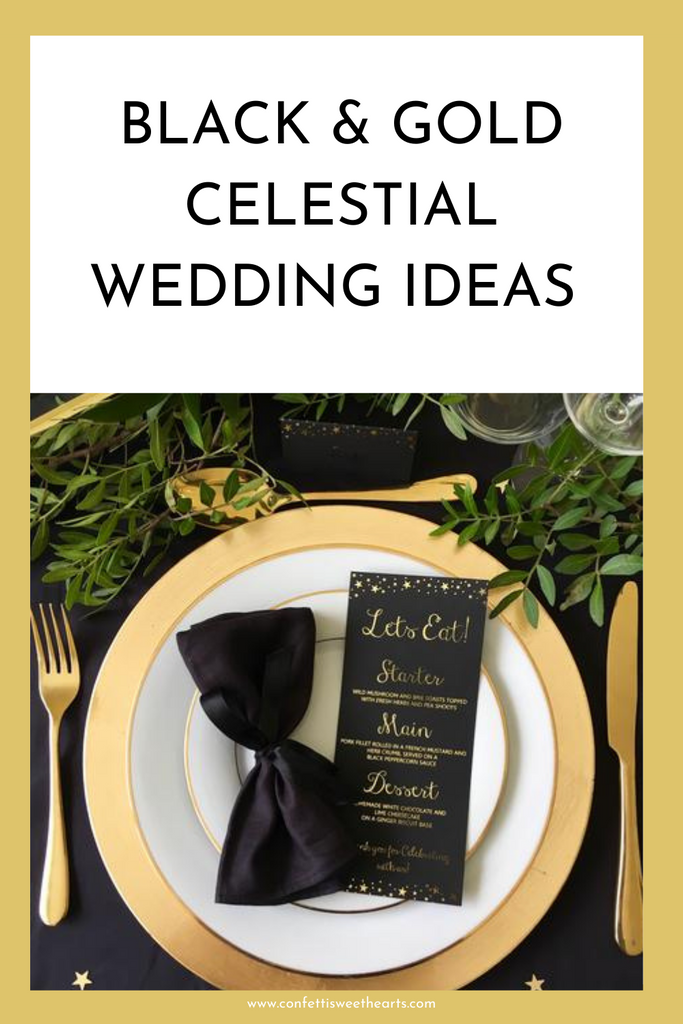 Celestial Wedding Ideas, Black & Gold