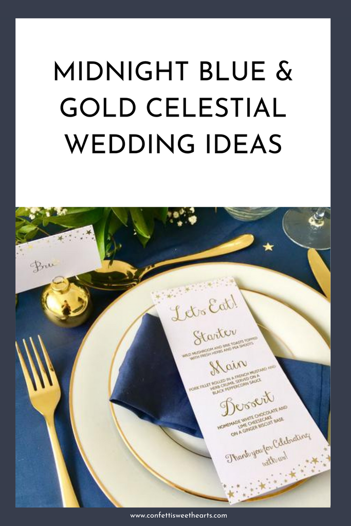 Celestial Wedding Ideas Midnight Blue & Gold