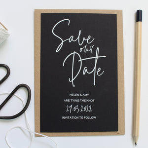 save the dates for wedding foil colours