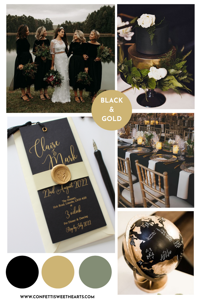 mood board black and gold