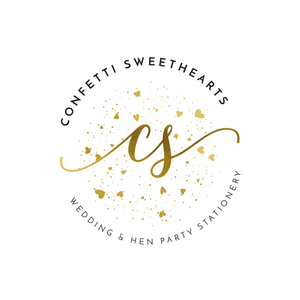 Confetti Sweethearts | Foil Wedding Stationery | Decorations | Wedding Styling