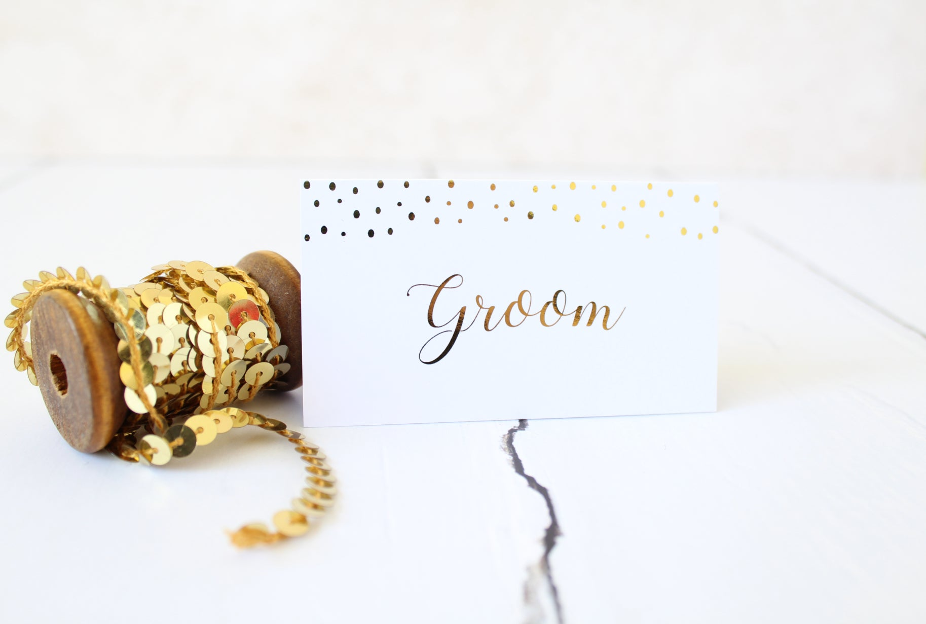 Foiled Wedding Folded Place Cards Confetti Design by Confetti Sweethearts