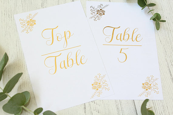 floral table numbers wedding