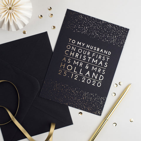 to my husband on our first christmas as mr and mrs card