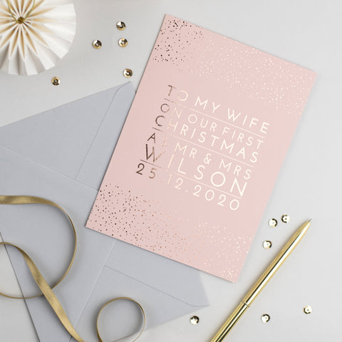 personalised christmas card rose gold and blush pink