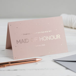 thank you for being my maid of honour card