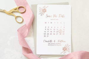 Foiled Floral Design Save the Date