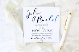 tying the knot save the dates for wedding foil colours