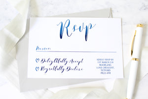 Foiled Wedding RSVP Card from the 'Love Letters' Collection by Confetti Sweethearts
