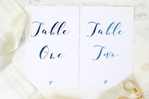Foiled Table Numbers from the 'Love Letters' Collection by Confetti Sweethearts