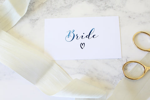 Foiled Wedding Flat Place Cards from the 'Love Letters' Collection