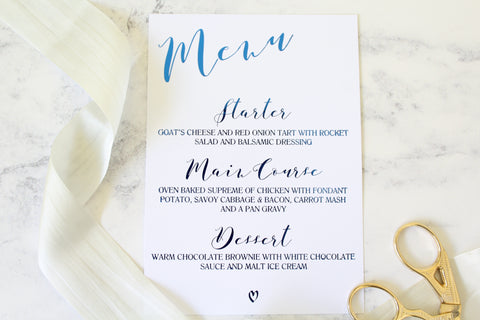 Foiled Wedding Menu from the 'Love Letters' Collection by Confetti Sweethearts