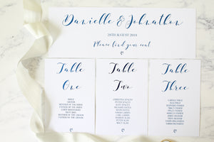 Foiled Wedding Table Plan Cards & Headers from the 'Love Letters' Collection by Confetti Sweethearts