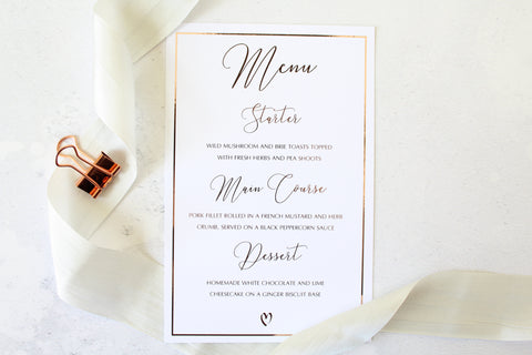 Foiled Menu with border from the Romance Collection by Confetti Sweethearts