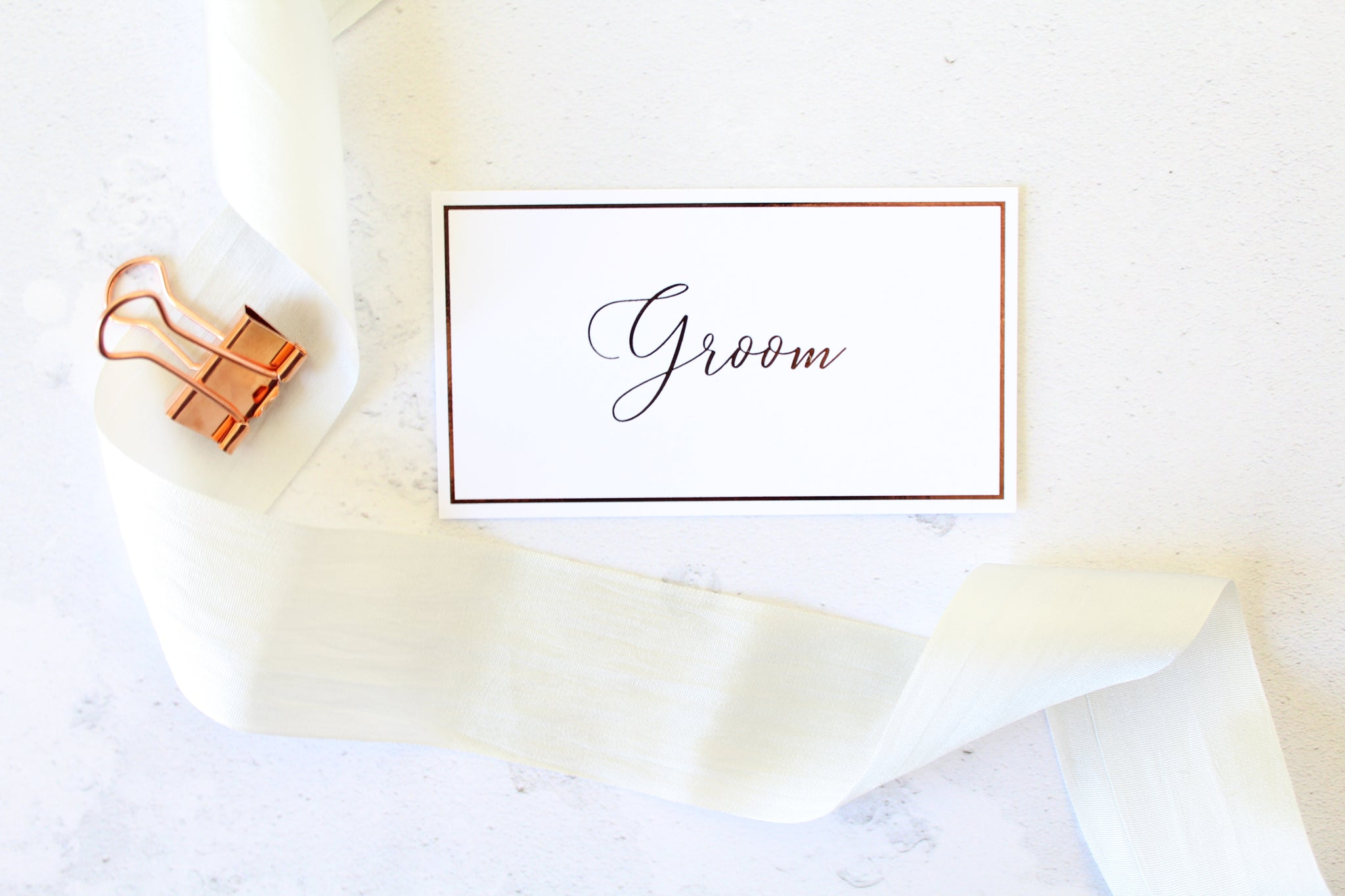 Foiled Wedding Flat Place Cards personalised with guests names from the Romance Collection by Confetti Sweethearts