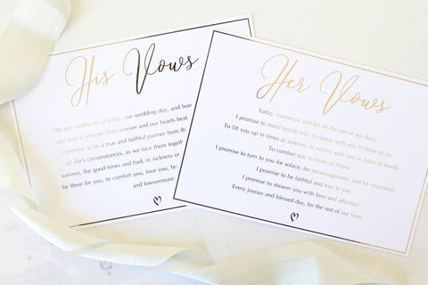 Foiled  His/Her Wedding Vows personalised with your own words by Confetti Sweethearts