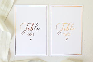 Foiled Wedding Table Numbers with border from the Romance Collection by Confetti Sweethearts