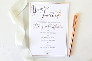 Foiled Wedding Invitation 'You're invited' with border personalised from the Romance Collection