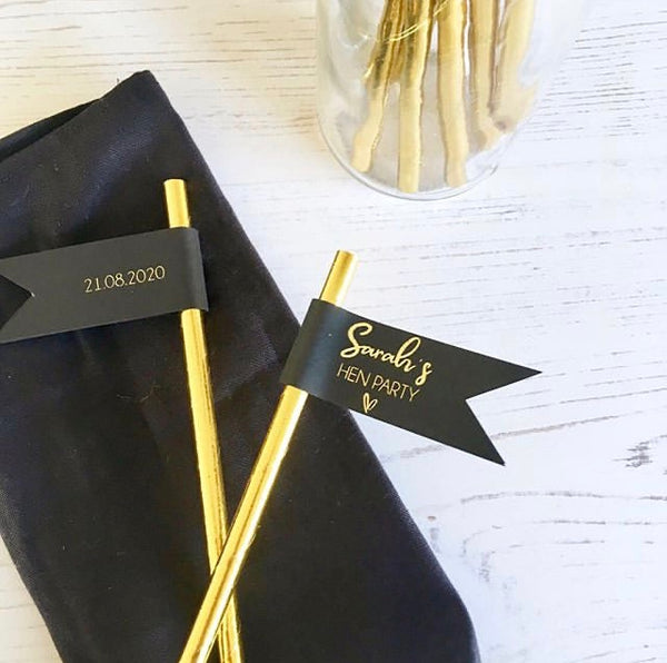 Hen Party Straw Flags personalised with name + date