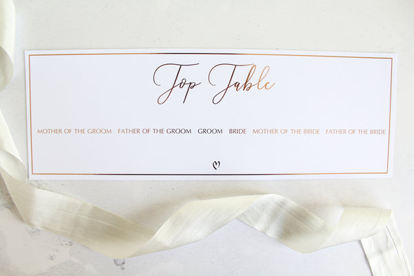 Foiled Wedding Table Plan Cards & Headers from Romance Collection by Confetti Sweethearts