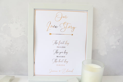 Foiled Our Love Story Sign personalised with names and dates for Wedding/ Home Decor from the Romance Collection by Confetti Sweethearts