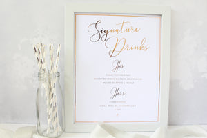 Foiled Signature Drinks Wedding Sign personalised with His/Hers Favourite Drink by Confetti Sweethearts