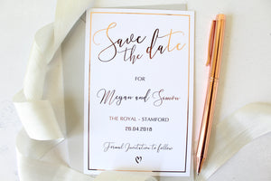 save the date with border foil for wedding