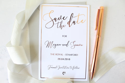 oiled Wedding Save the Date personalised from the Romance Collection  by Confetti Sweethearts