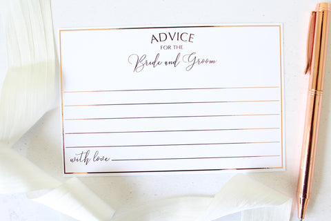 Foiled Wedding Advice Cards for the Bride & Groom from the Romance Collection by Confetti Sweethearts
