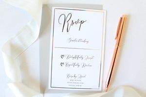 Foiled Wedding RSVP Card 'Romance Collection' by Confetti Sweethearts